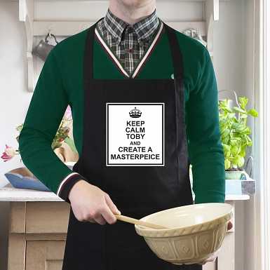 Keep Calm Black Apron