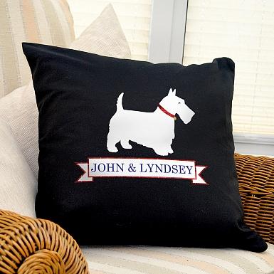 Personalised Scottie Dog Black Cushion Cover