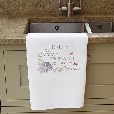 Secret Garden White Tea Towel