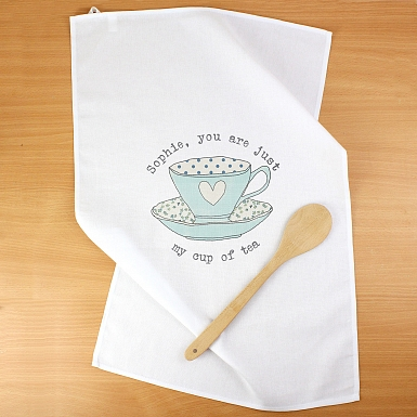 Personalised Vintage Tea cup White Tea Towel