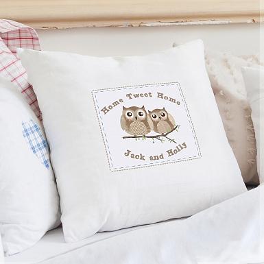 Personalised Woodland Owl Cushion Cover