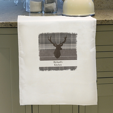 Personalised Highland Stag White Tea Towel