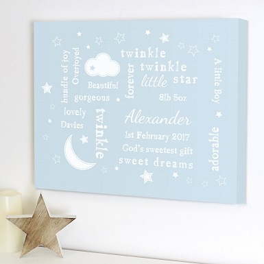Personalised Twinkle Twinkle Typography Blue Canvas