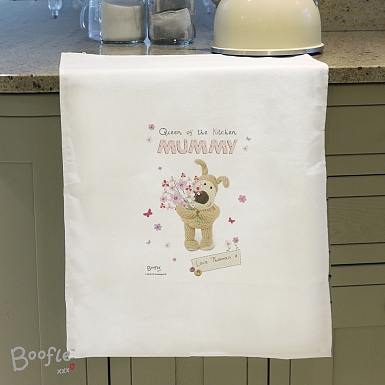 Personalised Boofle Flowers Tea Towel