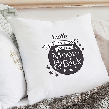 Personalised To the Moon and Back Cream Cushion Cover