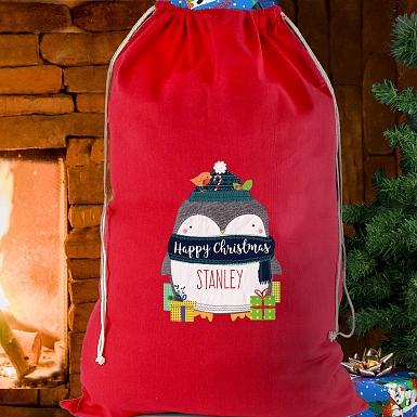 Personalised Polar Penguin Cotton Sack