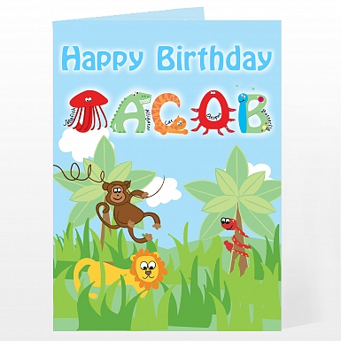 Personalised Animal Alphabet Card