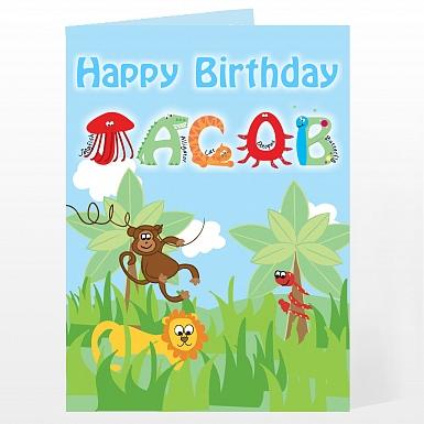 Personalised Animal Alphabet Card