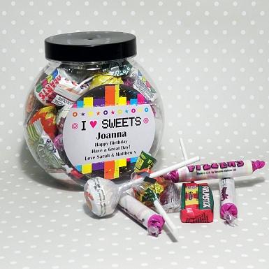 Personalised Rainbow I Love Sweets Jar