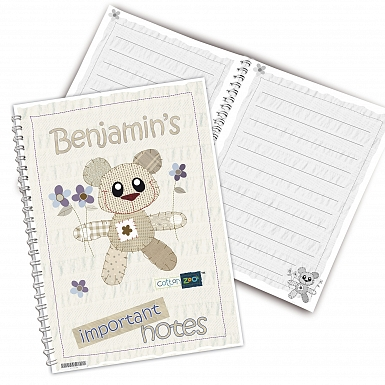 Personalised Cotton Zoo Tweed the Bear Blue A5 Notebook