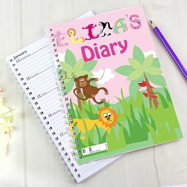 Personalised Girls Animal Alphabet A5 Diary