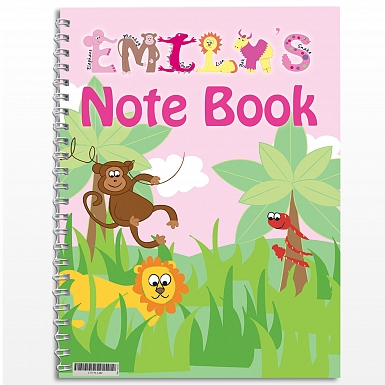 Personalised Girls Animal Alphabet A5 Notebook