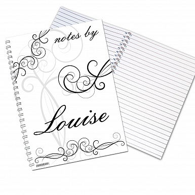 Personalised Black Swirl A5 Notebook