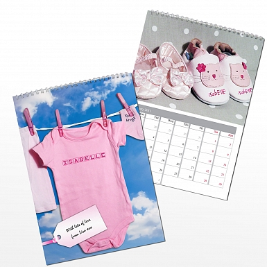 Personalised Baby Girl A4 Wall Calendar