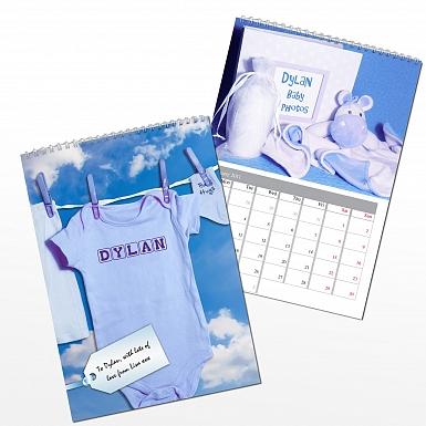 Personalised Baby Boy A4 Wall Calendar