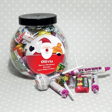 Personalised Santa Round Sweet Jar