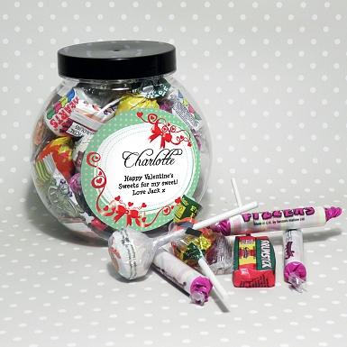 Personalised Red Ribbon Sweet Jar