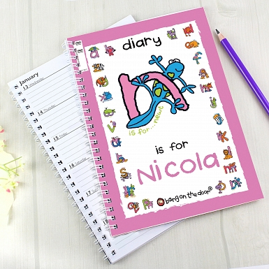 Personalised Bang On The Door Animal Alphabet Girls A5 Diary