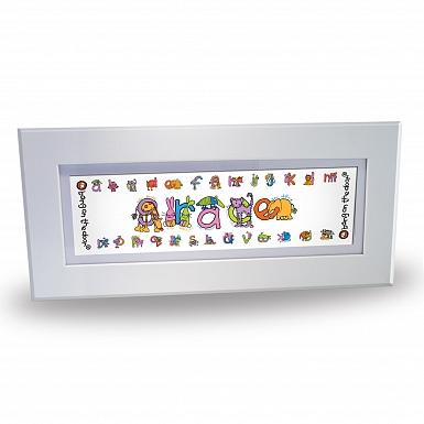 Personalised Bang On The Door Animal Alphabet Girls Name Frame