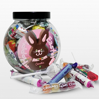 Personalised Pink Bunny Sweet Jar