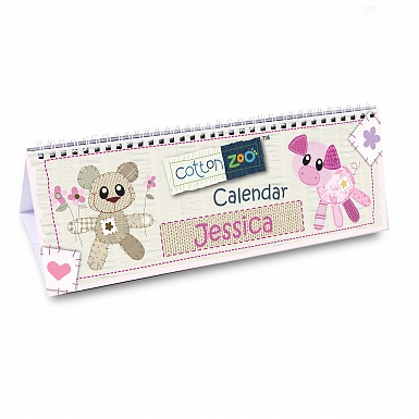 Personalised Cotton Zoo Girls Desk Calendar