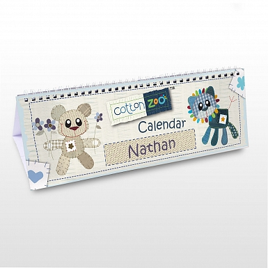Personalised Cotton Zoo Boys Desk Calendar