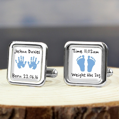 Personalised Blue Hand and Foot Print Cufflinks