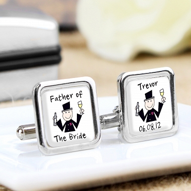 Personalised Cartoon Wedding Cufflinks