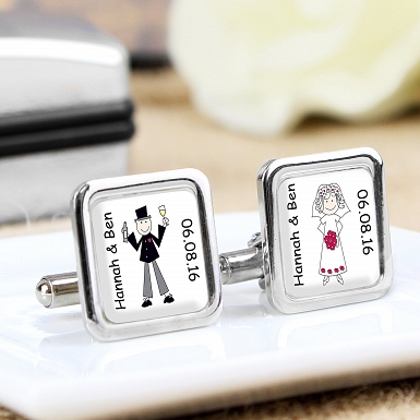 Personalised Cartoon Couple Cufflinks