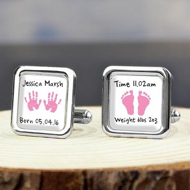 Personalised Pink Hand and Foot Print Cufflinks