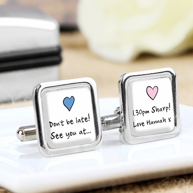 Pink and Blue Heart Cufflinks