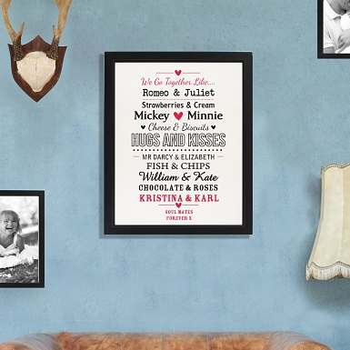 Personalised We Go Together Like.... Black Poster Frame UK [United Kingdom]