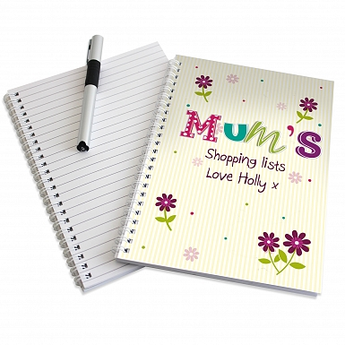 Personalised Patchwork Flowers A5 Notebook