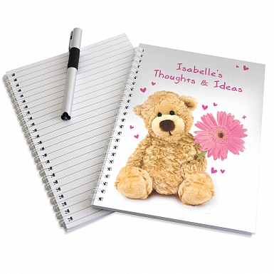 Personalised Teddy Flower A5 Notebook