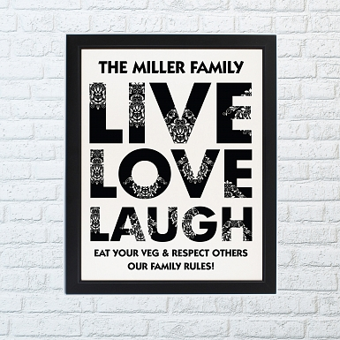 Personalised Live Love Laugh Framed Print UK [United Kingdom]