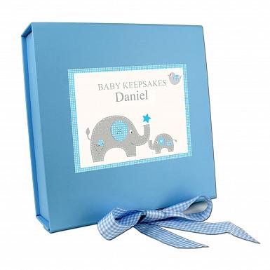 Personalised Blue Baby Elephant Gift Box
