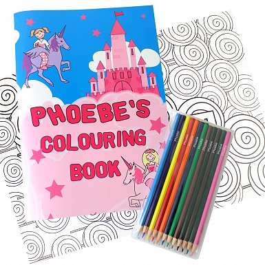 Personalised Princess Colouring Book with Pencil Crayons