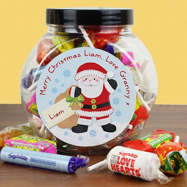 Personalised Felt Stitch Santa Sweet Jar