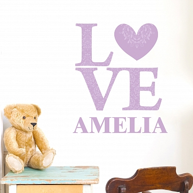 Personalised LOVE Lilac Wall Art