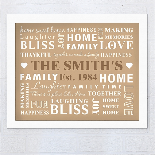 Personalised Family Typography Poster Frame