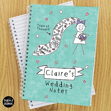 Personalised Purple Ronnie Bride A5 Notebook