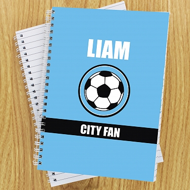 Personalised Sky Blue Football Fan A5 Notebook