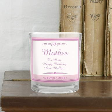 Personalised Pink Elegant Scented Jar Candle