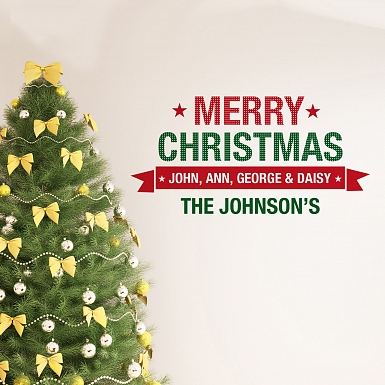Personalised Merry Christmas Wall Art