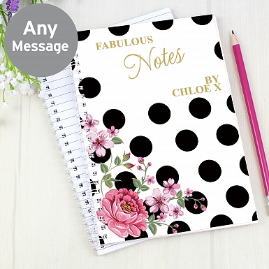 Personalised Floral Dot A5 Notebook