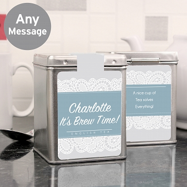 Personalised Dainty Lace Tea & Tin