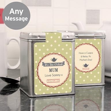 Personalised Its Tea O'Clock Tea & Tin
