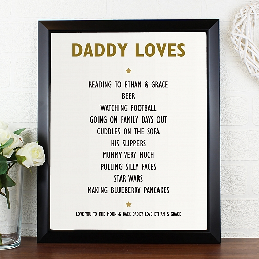 Personalised List of Love Poster Frame