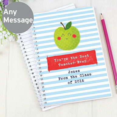 Personalised Happy Apple A5 Notebook