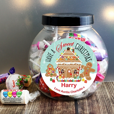 Personalised Gingerbread House Sweet Jar